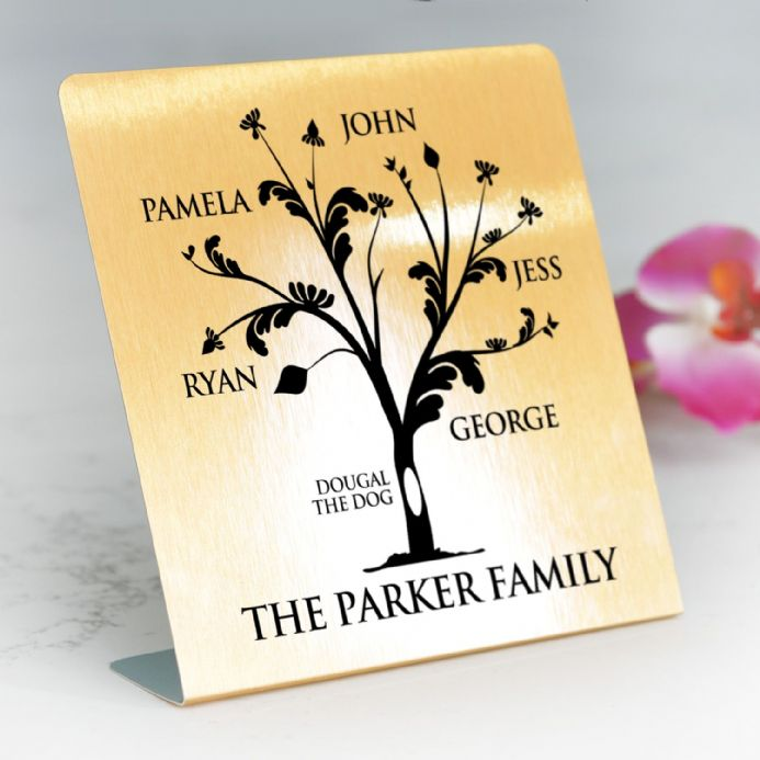 Personalised Gold Metal Freestanding Family Tree Print